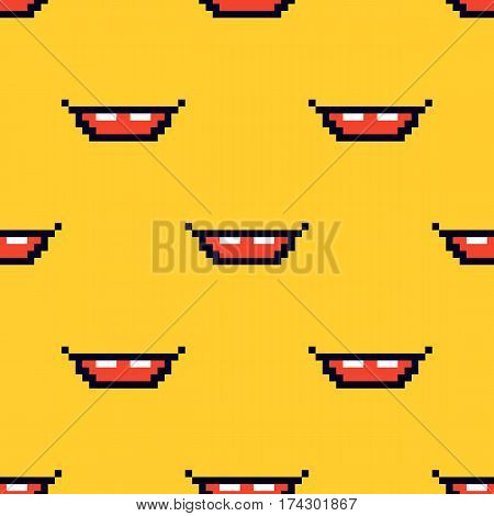 Pixel smile, mouth, grin seamless pattern background.