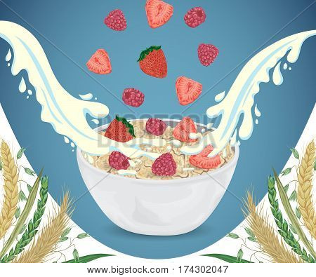 Cereal porridge in bowl with milk splashes, raspberry, strawberry and cereals. Barley, wheat, rye and oat. Healthy breakfast. Isolated elements. Hand drawn vector illustration