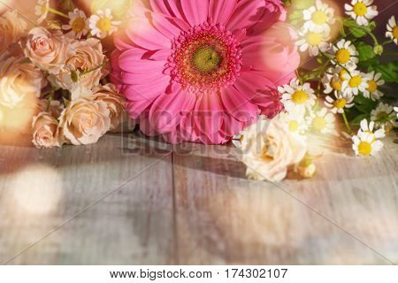 Spring flowers for mothers day with tender bokeh in country house style