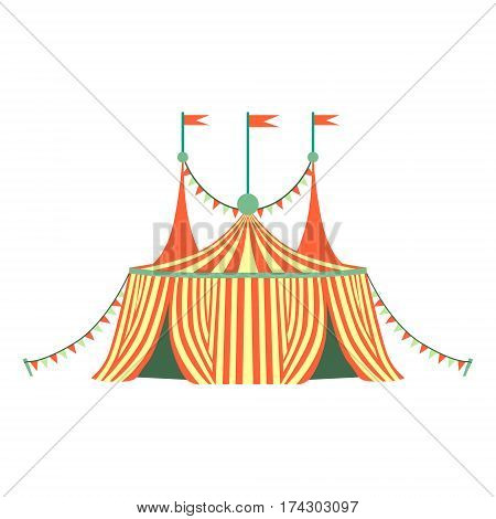 Red And Yellow Stripy Circus Tent, Part Of Amusement Park And Fair Series Of Flat Cartoon Illustrations. Isolated Object Related To Theme Park Entertainment Simplified Drawing.