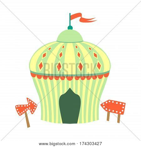 Yellow And Green Circus Tent, Part Of Amusement Park And Fair Series Of Flat Cartoon Illustrations. Isolated Object Related To Theme Park Entertainment Simplified Drawing.