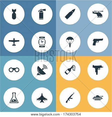 Set Of 16 Simple Military Icons. Can Be Found Such Elements As Nuke, Signal Receiver, Ammunition And Other.