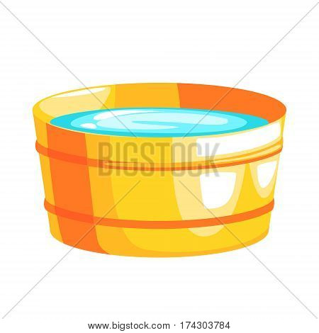 Brass Bucket Filled With Water, Part Of Russian Steam House Series Of Flat Funny Cartoon Illustrations. Sauna Washing And Russian Hygiene Culture Related Isolated Drawing.