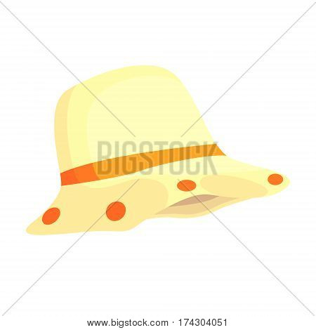 White Hat To Prevent Overheating, Part Of Russian Steam House Series Of Flat Funny Cartoon Illustrations. Sauna Washing And Russian Hygiene Culture Related Isolated Drawing.