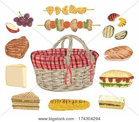 Collection of picnic food. Grill meat, fish, vegetables, sandwiches, cheese, corn, kebab, fruits and basket. Isolated elements. Design concept for picnic or barbecue party. Vector illustration