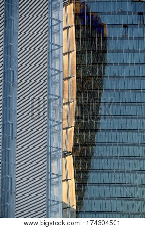 MILAN, ITALY - NOVEMBER 7, 2016: Milan (Lombardy Italy): modern glass skyscrapers in Citylife (Tre Torri) known as the Generali and the Allianz building