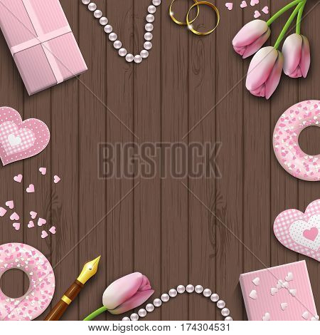 Romantic background with pink objects on brown wooden pattern, inspired by flat lay style, vector illustration, eps 10 with transparency and gradient meshes