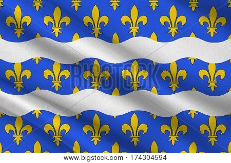 Flag of Seine-et-Marne is a French department named after the Seine and Marne rivers and located in the Ile-de-France region. 3d illustration