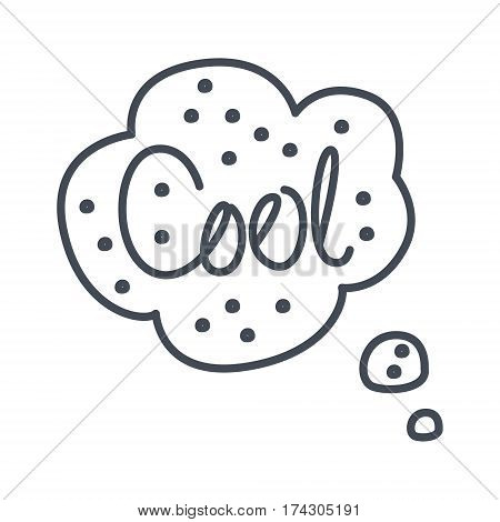 Word Cool, Hand Drawn Comic Speech Bubble Template, Isolated Black And White Hand Drawn Clipart Object. Sketch Style Monochrome Sticker With Speech Balloon For Cartoons And Comics.