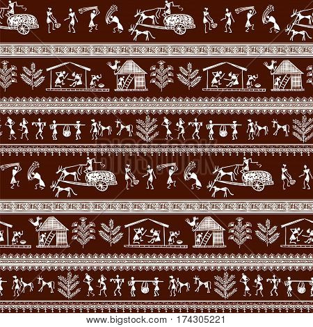 Warli painting vector photo free trial bigstock warli painting seamless pattern hand drawn traditional the ancient tribal art india pictorial language altavistaventures Gallery