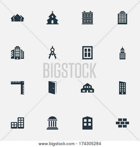 Set Of 16 Simple Structure Icons. Can Be Found Such Elements As Academy, Glazing, Residential And Other.