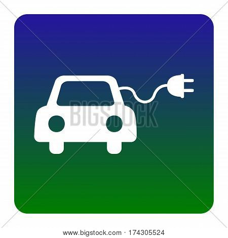 Eco electric car sign. Vector. White icon at green-blue gradient square with rounded corners on white background. Isolated.