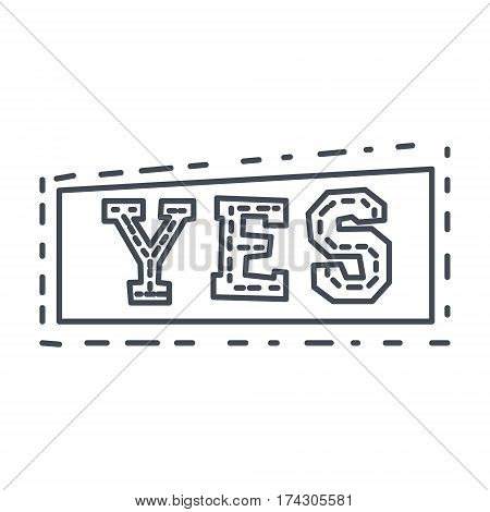 Word Yes In Square Frame, Hand Drawn Comic Speech Bubble Template, Isolated Black And White Hand Drawn Clipart Object. Sketch Style Monochrome Sticker With Speech Balloon For Cartoons And Comics.