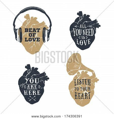 Hand drawn textured romantic posters with human heart headphones gramophone horn vector illustrations and lettering on the white background.