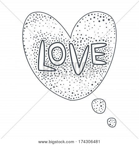 Word Love, Hand Drawn Comic Speech Bubble Template, Isolated Black And White Hand Drawn Clipart Object. Sketch Style Monochrome Sticker With Speech Balloon For Cartoons And Comics.