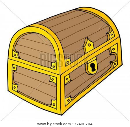 Wooden treasure chest with lock - vector illustration.