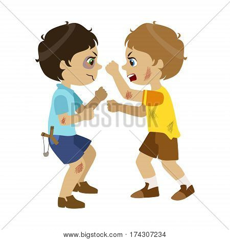 Two Bad Boys Fighting, Part Of Bad Kids Behavior And Bullies Series Of Vector Illustrations With Characters Being Rude And Offensive. Schoolboy With Aggressive Behavior Acting Out And Offending Other Children..