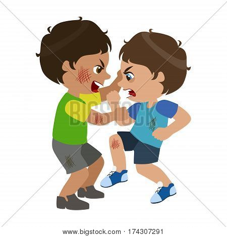 Two Boys Fighting And Scratching, Part Of Bad Kids Behavior And Bullies Series Of Vector Illustrations With Characters Being Rude And Offensive. Schoolboy With Aggressive Behavior Acting Out And Offending Other Children..