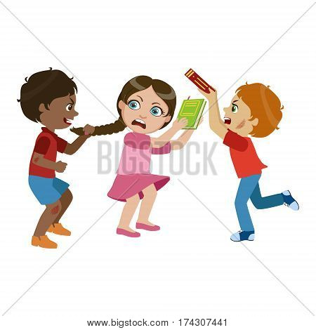 Two Boys Bullying A Girl, Part Of Bad Kids Behavior And Bullies Series Of Vector Illustrations With Characters Being Rude And Offensive. Schoolboy With Aggressive Behavior Acting Out And Offending Other Children..