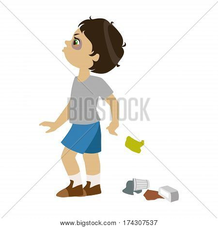 Boy Littering, Part Of Bad Kids Behavior And Bullies Series Of Vector Illustrations With Characters Being Rude And Offensive. Schoolboy With Aggressive Behavior Acting Out And Offending Other Children..