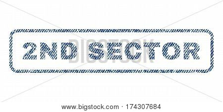 2nd Sector text textile seal stamp watermark. Blue jeans fabric vectorized texture. Vector caption inside rounded rectangular shape. Rubber emblem with fiber textile structure.