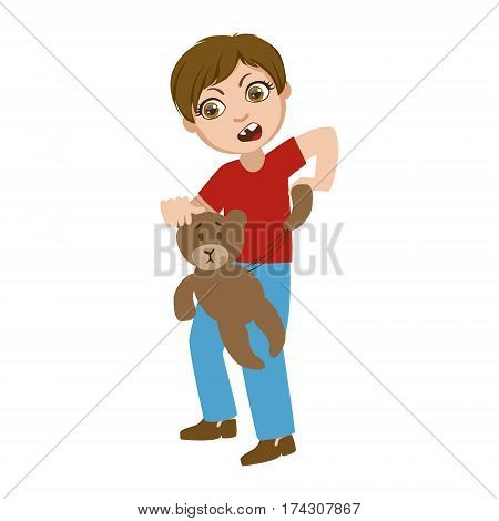 Boy Ripping Apart Teddy Bear, Part Of Bad Kids Behavior And Bullies Series Of Vector Illustrations With Characters Being Rude And Offensive. Schoolboy With Aggressive Behavior Acting Out And Offending Other Children..