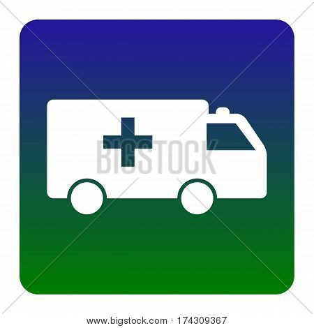 Ambulance sign illustration. Vector. White icon at green-blue gradient square with rounded corners on white background. Isolated.