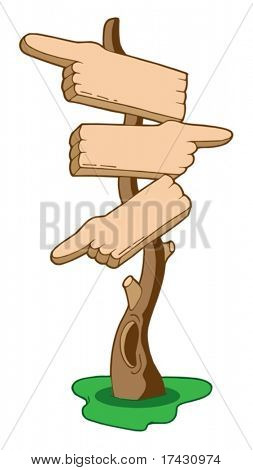 Finger signs on tree - vector illustration.