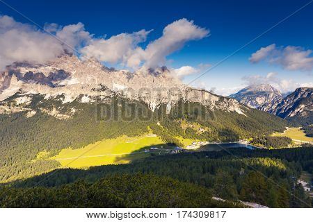 Sunny view of the wonderful alpine valley. Picturesque and gorgeous scene. Popular tourist attraction. Location place Misurina, Dolomiti alps, Tyrol, Italy, Europe. Drone photography. Beauty world.