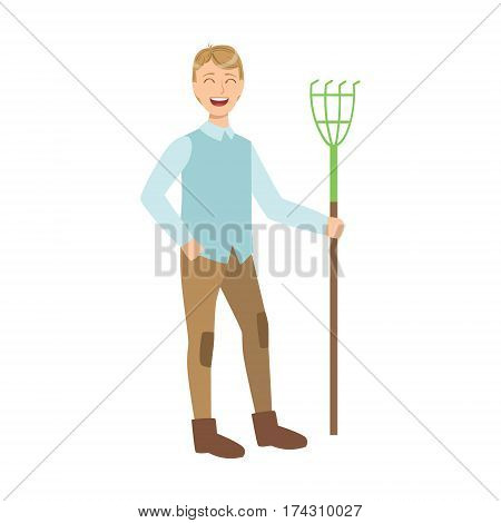 Man With Rake, Cartoon Adult Characters Cleaning And Tiding Up. Smiling Person With House Cleanup Tool Doing Up Vector Illustration.