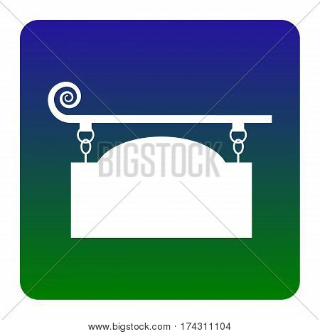 Wrought iron sign for old-fashioned design. Vector. White icon at green-blue gradient square with rounded corners on white background. Isolated.
