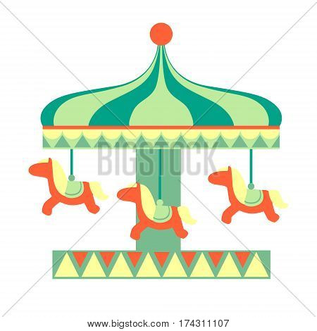 Merry-Go Round With Horses Ride, Part Of Amusement Park And Fair Series Of Flat Cartoon Illustrations. Isolated Object Related To Theme Park Entertainment Simplified Drawing.
