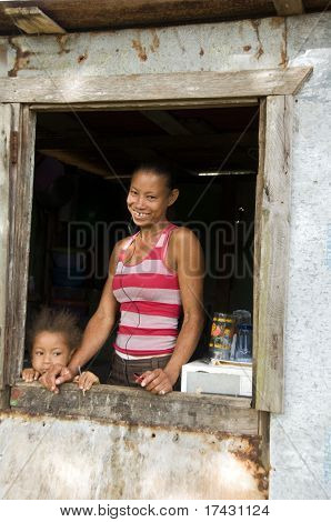 Nicaragua Mother Daughter  Smiling Poverty House Corn Island