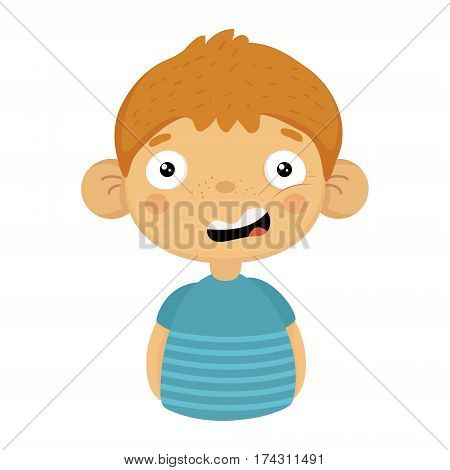 Doubtful Smiling Cute Small Boy With Big Ears In Blue T-shirt, Emoji Portrait Of A Male Child With Emotional Facial Expression. Emoticon With Little Kid Cartoon Character In Childish Style Isolated Icon.