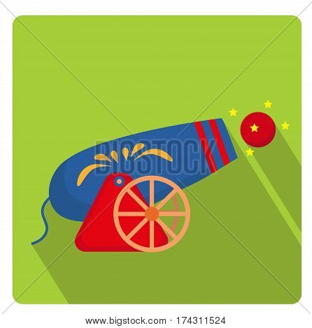 Circus Cannon icon flat style with long shadows, isolated on white background. Vector illustration