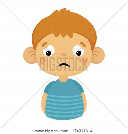 Sad And Disappointed Cute Small Boy With Big Ears In Blue T-shirt, Emoji Portrait Of A Male Child With Emotional Facial Expression. Emoticon With Little Kid Cartoon Character In Childish Style Isolated Icon.