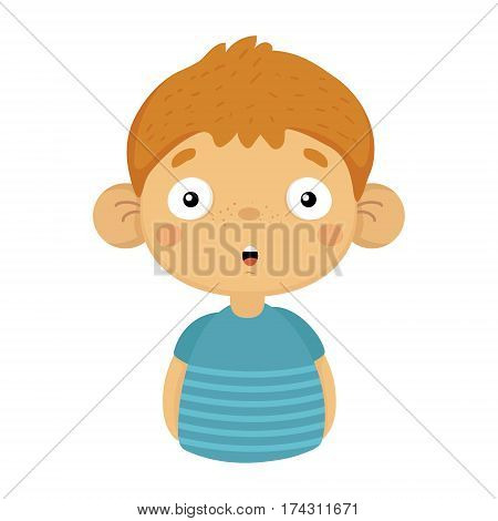 Impressed And Surprised Cute Small Boy With Big Ears In Blue T-shirt, Emoji Portrait Of A Male Child With Emotional Facial Expression. Emoticon With Little Kid Cartoon Character In Childish Style Isolated Icon.