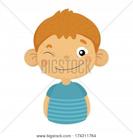 Naughty Winking Cute Small Boy With Big Ears In Blue T-shirt, Emoji Portrait Of A Male Child With Emotional Facial Expression. Emoticon With Little Kid Cartoon Character In Childish Style Isolated Icon.
