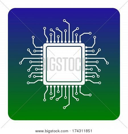 CPU Microprocessor illustration. Vector. White icon at green-blue gradient square with rounded corners on white background. Isolated.