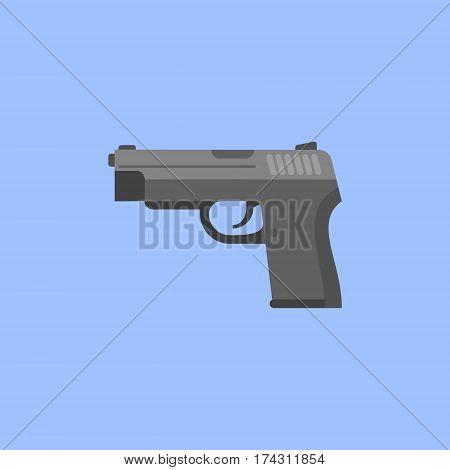 Black gun isolated on blue background. Automatic pistol flat style icon. Vector illustration.