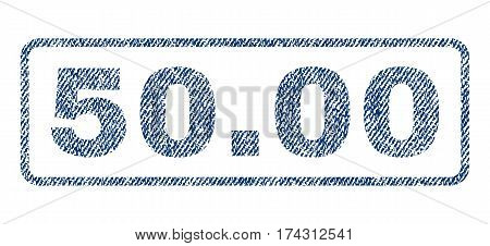 50.00 text textile seal stamp watermark. Blue jeans fabric vectorized texture. Vector caption inside rounded rectangular shape. Rubber sign with fiber textile structure.