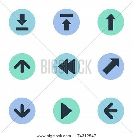 Set Of 9 Simple Indicator Icons. Can Be Found Such Elements As Right Landmark, Let Down, Rearward.