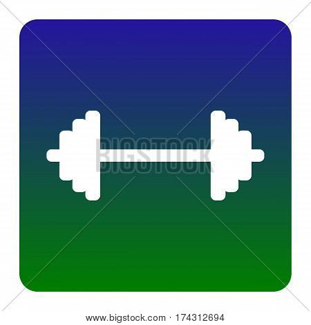 Dumbbell weights sign. Vector. White icon at green-blue gradient square with rounded corners on white background. Isolated.