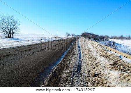 Asphalt Road On Winter