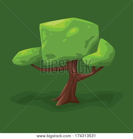 vector illustration of a tree with a large crown on a green background.