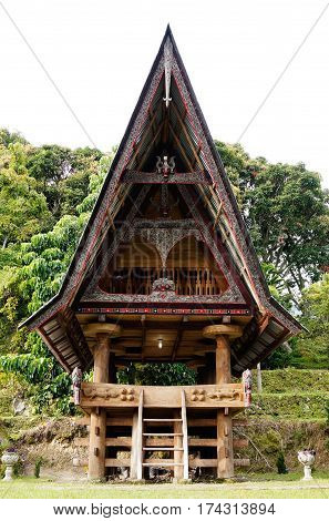 Front of a house at an old Batak village in Sumatra Samosir Island in the afternoon Indonesia