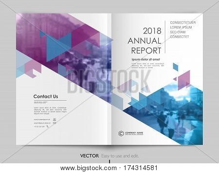 Cover design annual report, vector template brochures, flyers, presentations, leaflet, magazine a4 size. White with blue abstract background - stock vector