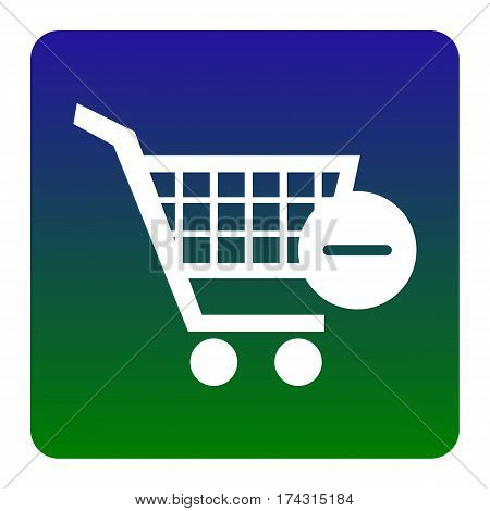 Vector Shopping Cart with Remove sign. Vector. White icon at green-blue gradient square with rounded corners on white background. Isolated.