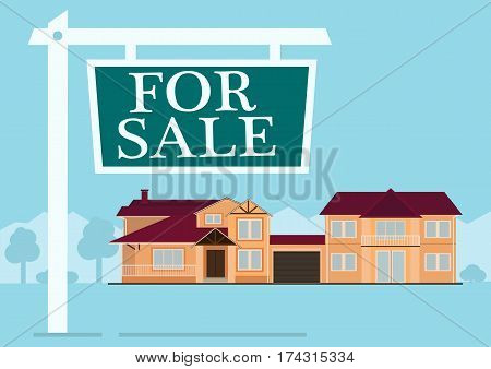 For sale sign in front of cute house in flat building style. background in blue pastel colors. country views with trees and shrubs. real estate purchase. vector illustration
