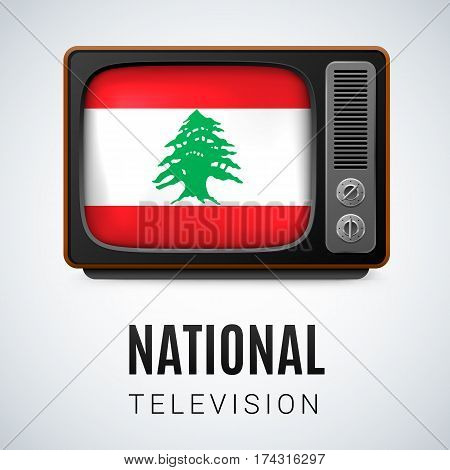 Vintage TV and Flag of Lebanese Republic as Symbol National Television. Tele Receiver with flag design